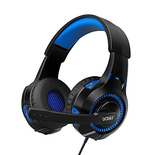 OCDAY - Cuffie da gioco, con microfono per PS4 PC, Xbox One, switch, cavo da 3,5 mm, audio surround cablato con luci LED, cuffie da gioco USB per laptop, Mac, telefoni cellulari e tablet