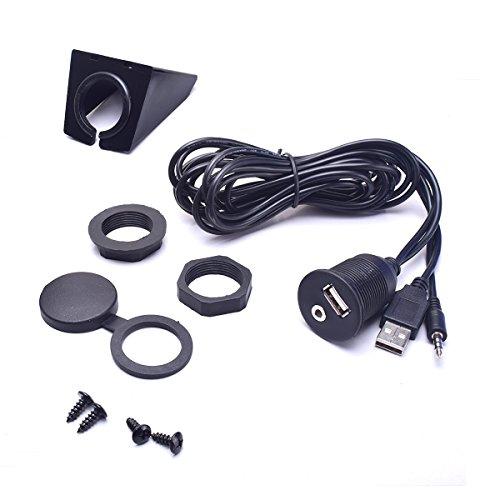 BGoodVision Auto USB 3,5 mm Aux Estensione Cavo Montaggio a Filo Kit 1/8 AUX per Autoradio Stereo Android Wince Unit Principale Dvd CD - 6.5 Feet