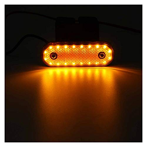NERR YULUBAIHUO 4/6 / 10pcs 24V 20 LED Truck Marker Light Lights Atrás Luz de Lija Lámpara de Giro Señal Tractor RV Trailer Lory Pick-Up Boat Coche (Color Temperature : 6pcs, Emitting Color : Yellow)