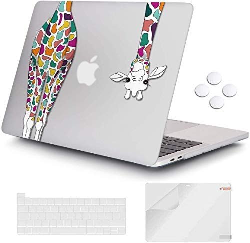 Macbook Pro 13 inch 2020 Release A2251 A2289, iCasso Plastic Hard Shell Case Protective Cover & Keyboard Cover Only Compatible with New Macbook Pro 13 inch with Touch Bar & Touch ID - Giraffe
