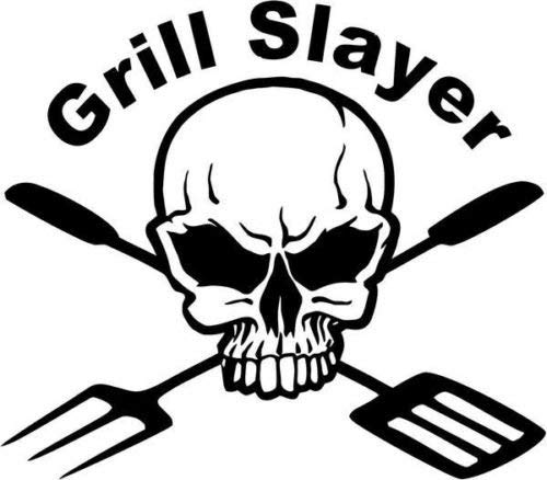 Grill Slayer BBQ Skull Death Vinyl Graphic Auto Truck Windows Decor Sticker - Die gesneden vinyl sticker voor ramen, auto's, vrachtwagens, gereedschapskisten, laptops, MacBook - vrijwel elk hard, glad oppervlak