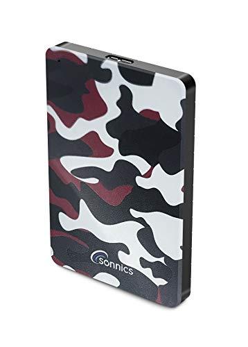 Sonnics Disco duro externo portátil USB 3.0 de 500 GB, diseño de camuflaje rojo, velocidad de transferencia súper rápida para usar con Windows PC, Apple Mac, Smart TV, Xbox One y PS4 edición especial