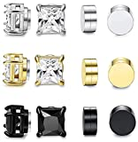 FIBO STEEL 6 Pairs Magnetic Stud Earring for Men Women Round Square CZ Magnet Non Pierced Clip On Earrings Set