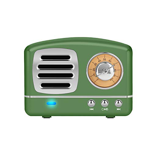 Dosmix Wireless Stereo Retro Speakers, Portable Bluetooth Vintage Speakers with Powerful Sound, Answering Calls, Alexa Support, TF Card, AUX for Kitchen Bedrooms Party Outdoor Android iOS Green