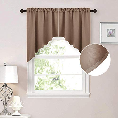 """NICETOWN Half Window Pole Pocket Kitchen Tier Curtains- Tailored Scalloped Valance /Swags for Living Room (2 Panels, 36 X 36"""" Each Panel, Cappuccino)"""