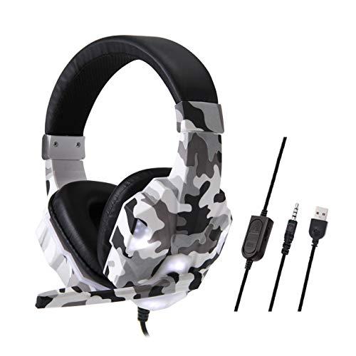 Esenlong Auriculares con cable para videojuegos, con micrófono y luz para PS4, Xbox, un interruptor, portátil, USB de 3.5 mm, conector USB dual de 3.5 mm (opcional) para interruptor PS4 Xbox One