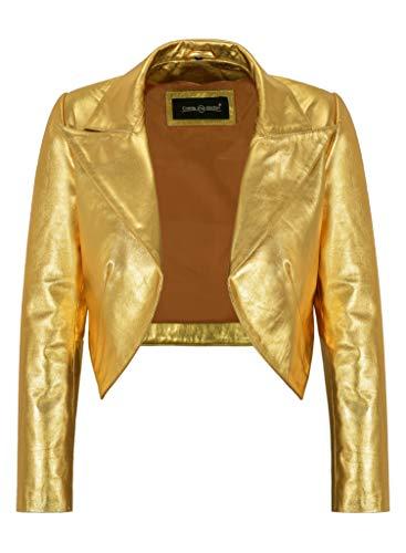 Ladies Shinny Cropped Leather Shrug Slim-fit Short Body Jacket Bolero Style 5650 (12, Gold)