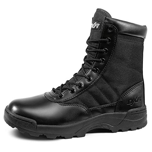 KaiFeng Military Tactical 7 Inch Boots Breathable Lightweight Mens Army Jungle Boots with Side Zipper (Black,Size 9.5)