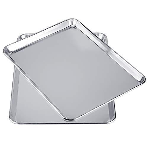 Love-homemaster Heavy Duty Pure Aluminum Half Sheet Pan Set, Cookie Baking Sheet Pan Set, 18' x 13' x 1', 2 Pack