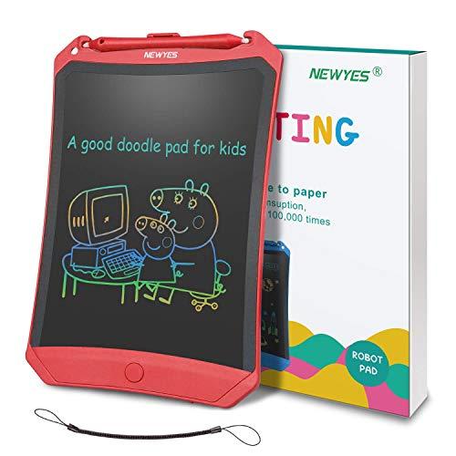 NEWYES Tableta de Escritura LCD 8,5 Pulgadas | Tablet para Dibujar para Niños. Colores Más Brillantes. Pizarra electrónica para Aprender a Leer, Escribir y Manualidades | (Rojo) Trazos de Color
