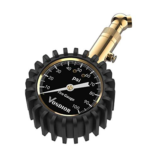 Tire Pressure Gauge - (0-100 PSI) Heavy Duty, Certified ANSI Accurate with Large 2 Inch Easy to Read Glow Dial, Low - High Air Pressure Gauge. Tire Gauge for Car and Trucks Tires by Vondior (100PSI)