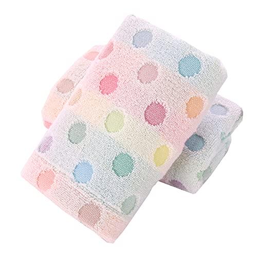 Pidada 100% Cotton Hand Towels Polka Dot Pattern Super Soft Highly Absorbent Towel for Bathroom 13.4 x 30 Inch Set of 2 (Beige)