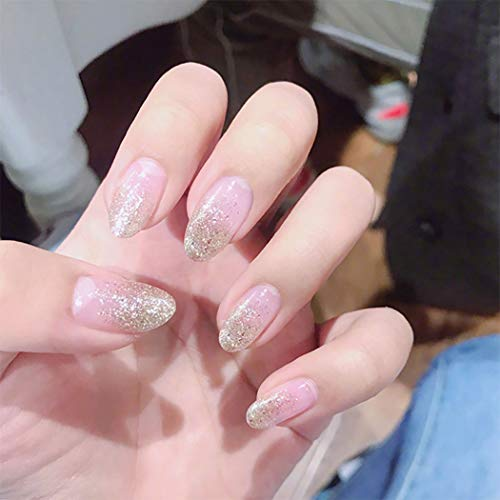 Edary Glossy Fake Nails Transparenter Glitter Star Falsche Nägel Oval Square Drücken Sie auf die Nägel Full Cover Nägel für Frauen und Mädchen (24 Stück)