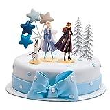 dekora Decoracion para Tartas de Frozen 2 con Las Figuras de Elsa, Anna y Olaf además de 2 Árboles y Estrellas invernales, Azul, Grande
