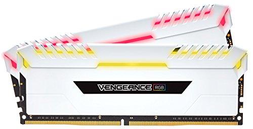 CORSAIR VENGEANCE RGB 16GB (2x8GB) DDR4 3000MHz C16 Desktop Memory - White