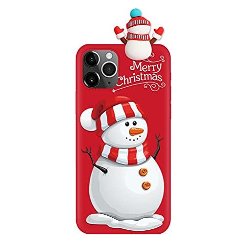 Pnakqil Funda para Samsung Galaxy A40 5,9', Silicona Cárcasa con 3D Doll Toy Muñeca Navidad Patrón, Suave TPU Slim Antigolpes Protettiva Carcasa con Dibujos Diseño, Muñeco de Nieve 1