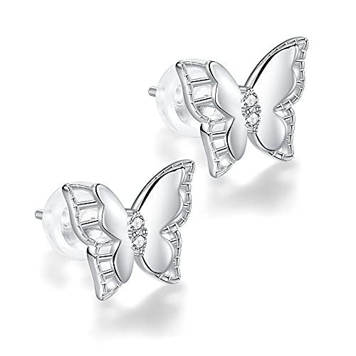 J.MUEN Pendientes de Mariposa para Mujer Plata de ley 925, Pendientes Hipoalergénicos, con Caja de Regalo