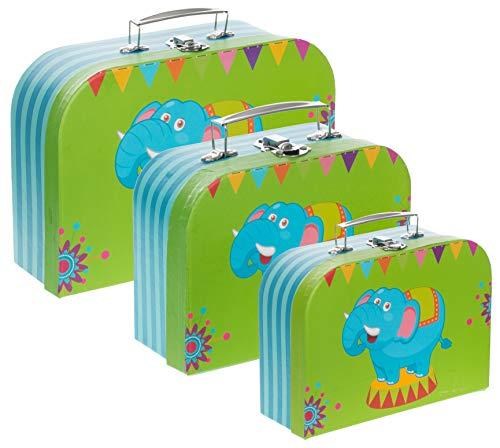 Brandsseller Geschenkbox Aufbewahrungsbox Koffer mit Griff - Stabiler Karton - 3er Set in absteigender Größe - Elefanten