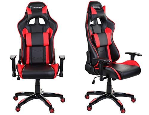 GIOSEDIO GSAR24 Weiß Ergonomisch Gaming PC Stuhl Schreibtischstuhl, Chefsessel mit Verstellbarer Rückenlehne und Armlehnen. Racing Bürostuhl Komfortabler Bürostuhl in sportlicher Racer Optik. (Weiß)