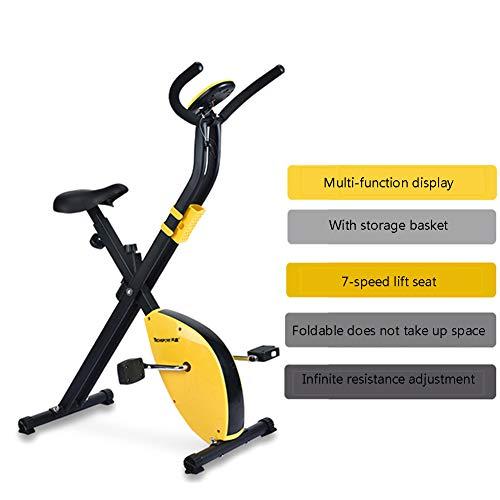 YMXLXL F-Bike, Bicicleta EstáTica con Sensores De Pulso De Mano, con/Sin Respaldo, Plegable, Unisex,Yellow
