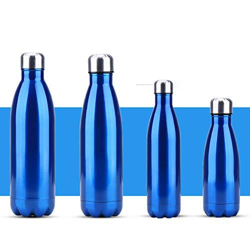 langchao Botella Termo de Acero Inoxidable Botella de Coque de Color sólido Simple Creativa Botella de Agua portátil para Coche al Aire Libre Azul 1000ml