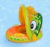 Ulikey Baby Schwimmring, Kinder Schwimmsitz mit Abnehmbarem Sonnendach, Aufblasbares Schwimmhilfen, Baby Pool Schwimmring, Schwimmtrainer Kinderboot für Strand und Pool