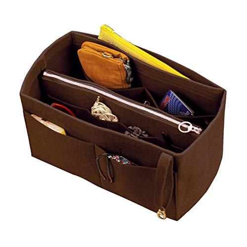[Passt IENA MM, Dunkelbraun] Filz Organizer (mit abnehmbaren mittleren Zipper Bag), Tasche in Tasche, Wolle Geldbörse einfügen, individuelle Tote organisieren, Kosmetik Make-up Windel Handtasche