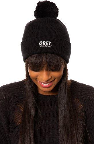 Obey - Bonnet Homme Worldwide Pom Pom Beanie - Black