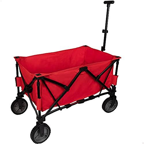 Aktive 62618-Carro portatodo para Playa 103x53x117 cm Beach, Rojo, 91 x 53 x 115 cm