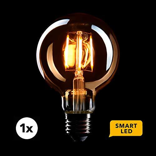 CROWN LED SMART Edison Glühbirne E27 Fassung, Dimmbar, 4W, 2200K,Warmweiß, 230V, EL04, Antike Filament Beleuchtung im Retro Vintage Look - Steuerbar per SMART LIFE/TUYA App für das smarte Zuhause