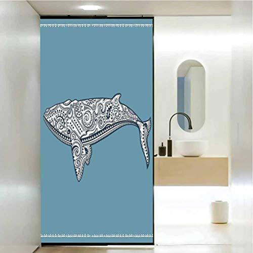 Adhesivo autoadhesivo para bloqueo de rayos UV, control de calor, peces de ballena con símbolo de tótem y Kitsch Anti, decoración para el baño del hogar, 35.4 x 78.7 pulgadas