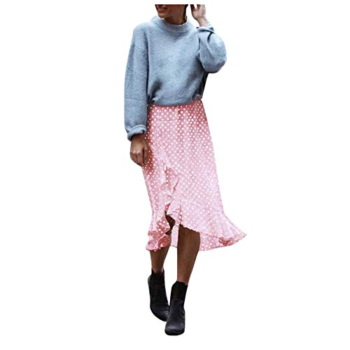 Eaylis Falda con Volantes y Estampado de Leopardo con Estampado de Puntos de Moda de Verano para Mujer de algodón Cintura altaPinkXXL