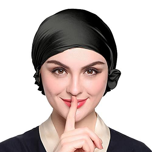 LilySilk Bonnet de Nuit Soie de Mûrier pour Femme Bonnet de Sommeil Chapeau Soin des Cheveux Noir