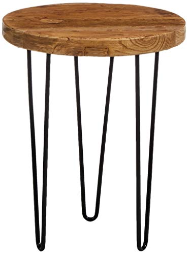 Amazon Brand - Rivet Rustic Round End/Side Table with Hairpin Legs, 40 x 40 x 52cm, Solid Elm Wood Top/Black Metal Base