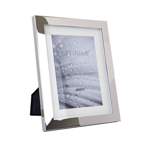 Kenro Eden Delicate Series Marco de fotos de 8x6 pulgadas / 15x20cm Plata pulida con soporte de marfil - SM1520