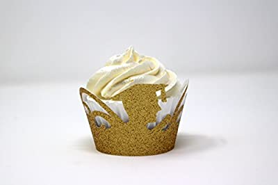 """All About Details Male Graduates Cupcake Wrappers,12pcs (Glitter Gold), top diameter, 2"""" bottom diameter and up to 2"""" tall"""