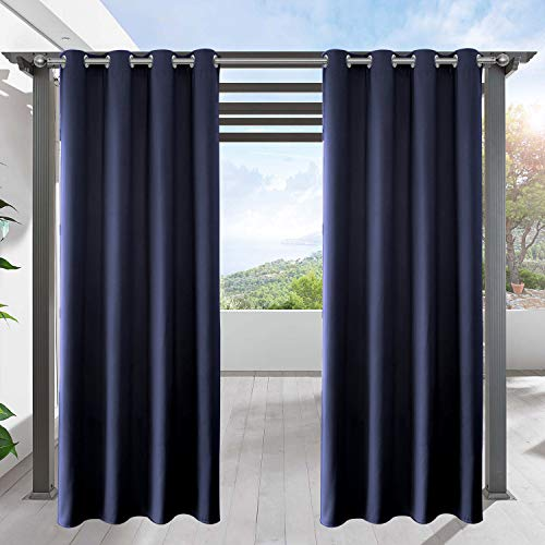 LIFONDER Patio Blinds Outdoor Curtains Waterproof - Heavy Grommet Blackout Curtains Outdoor Drapes Front Porch Shade Panel for Canopy/Pergola/Canaba, Navy Blue, W52 by L84 Inch, 1 Pc