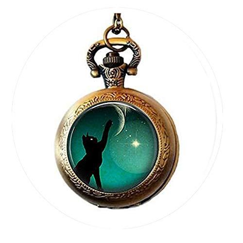 Porte-clés en forme de chat noir avec photo de lune, montre à gousset - Pendentif avec citation de...