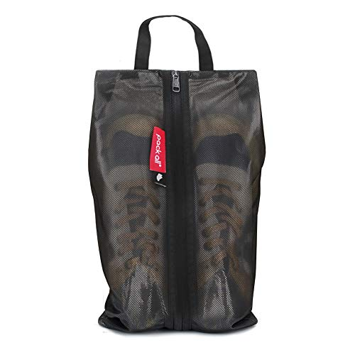 pack all Water Resistant Travel Shoe Bags, Shoe Storage Organizer Shoe Pouch with Zipper, for Men Women (Black)