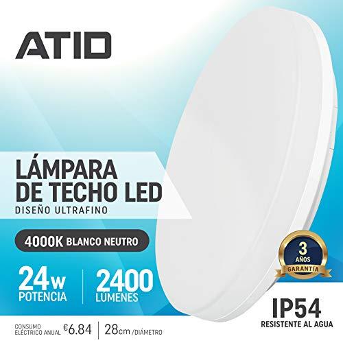 Lámpara de Techo LED 24W IP54 Impermeable Plafón Delgado