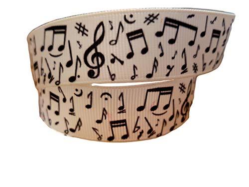 Lint Queen 2m x 22mm Muziekinstrumenten Blad Muziek Zwart Wit Quaver Gehaakte 25mmGROSGRAIN RIBBON (niet bedraden) VOOR BIRTHDAY CAKES WRAPPING HAIR BOWS CARDS CRAFT SHOELACES in verpakking