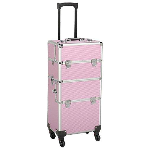 Yaheetech Maletín de Maquillaje Profesional Organizador Cosméticos Caja de Belleza 36 x 24 x 106,5 cm Rosa