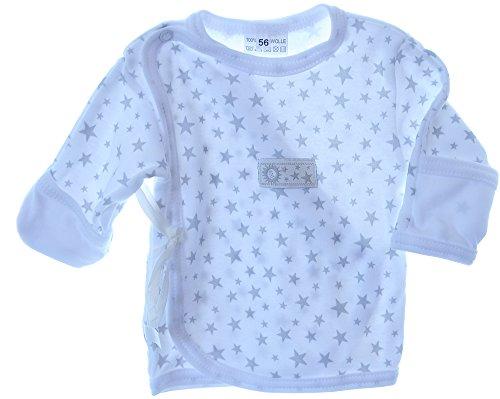 La Bortini Hemdchen Wickelshirt Babyhemdchen Shirt Flügelhemdchen 56 62 mit Kratzschutz Weiß (56)