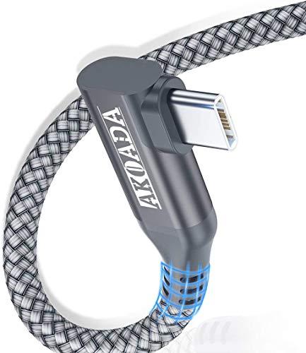 Cable de carga USB C en ángulo de 90 grados, cable USB tipo C a cable A, compatible con Samsung S20, S10, S9, Note 8, A8, A5 2017, LG G7, G6, HTC 10, Xiaomi Mi 8, etc. (2 m)