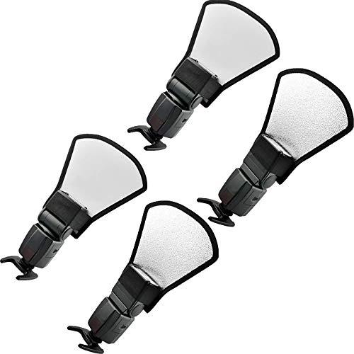 Juego de difusores 2 en 1, mini flash reflector con banda de goma, adecuado para fotografía portátil, reflector de cámara, estudio, difusor de luz plata/blanco, 20 cm (4 unidades)