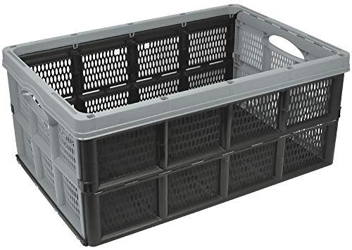 com-four® Caja plastico Plegable con empuñaduras empotradas - Cesta de la Compra Plegable en Gris - Cajas almacenaje Plegables, 32 litros (50.5 x 33 x 22 cm - 01 Piezas - Gris)