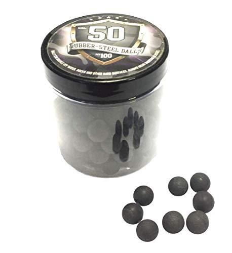 100x Hard Rubber Steel Balls Paintballs Training Hartgummi Kugel mit Stahl Schuss Shooting Reballs 50 Cal. HDR Waffen Pistole Marker RAM T4E