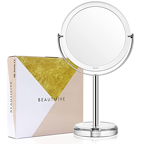 Beautifive Schminkspiegel Kosmetikspiegel Spiegel Kosmetik Vergrößerungsspiegel mit 1x / 7X Vergrößerung 360°Drehbar Tischspiegel für Make Up Silber