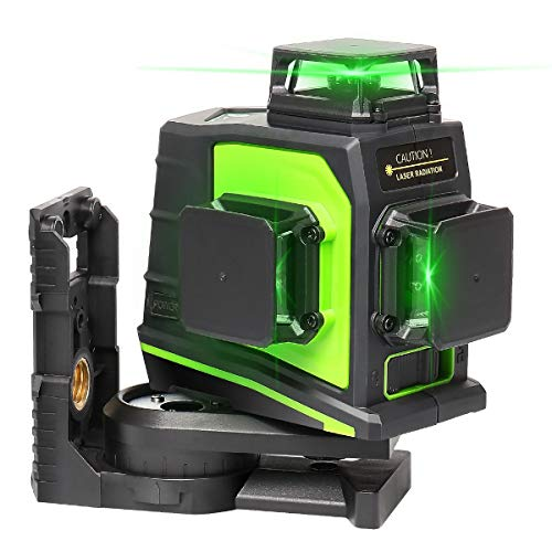 Huepar 3 x 360 Laser Level 3D Green Beam Self-leveling Cross Line Laser Three-Plane Leveling and Alignment Laser Tool -Two 360° Vertical and One 360° Horizontal Line with USB Charging Port GF360G-NP