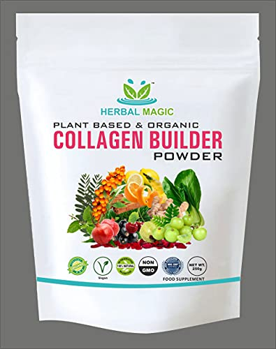 Herbal Magic Plant-Based Organic Collagen Powder, No Preservatives, Additives and Artificial Colouring Agents, Rich in Vitamins, Calcium, Zinc (Organic Collagen Powder- 250g)